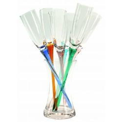 סט של 6 כוסות שמפניה או יין מבעבע באגרטל זכוכית