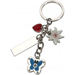 מחזיק מפתחות  תליונים בצורת לב, פרח, פרפר