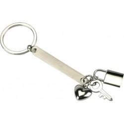 מחזיק מפתחות עם תליוני מנעול  מפתח ולב