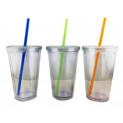 כוס לשתייה קרה בעלת דופן כפולה וקשית צבעונית