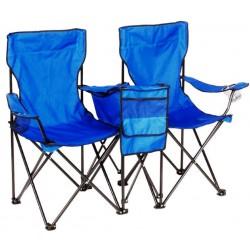 סט מתקפל של זוג כיסאות חוף וקמפינג עם צידנית