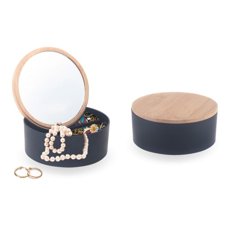 קופסת תכשיטים עם מכסה מבמבוק ומראה