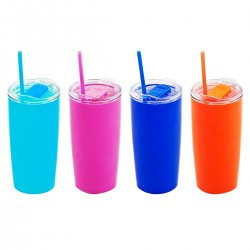 כוס פלסטיק צבעונית בעלת דופן כפולה