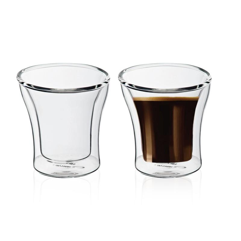 """100 מ""""ל זוג כוסות זכוכית עם דופן כפולה"""