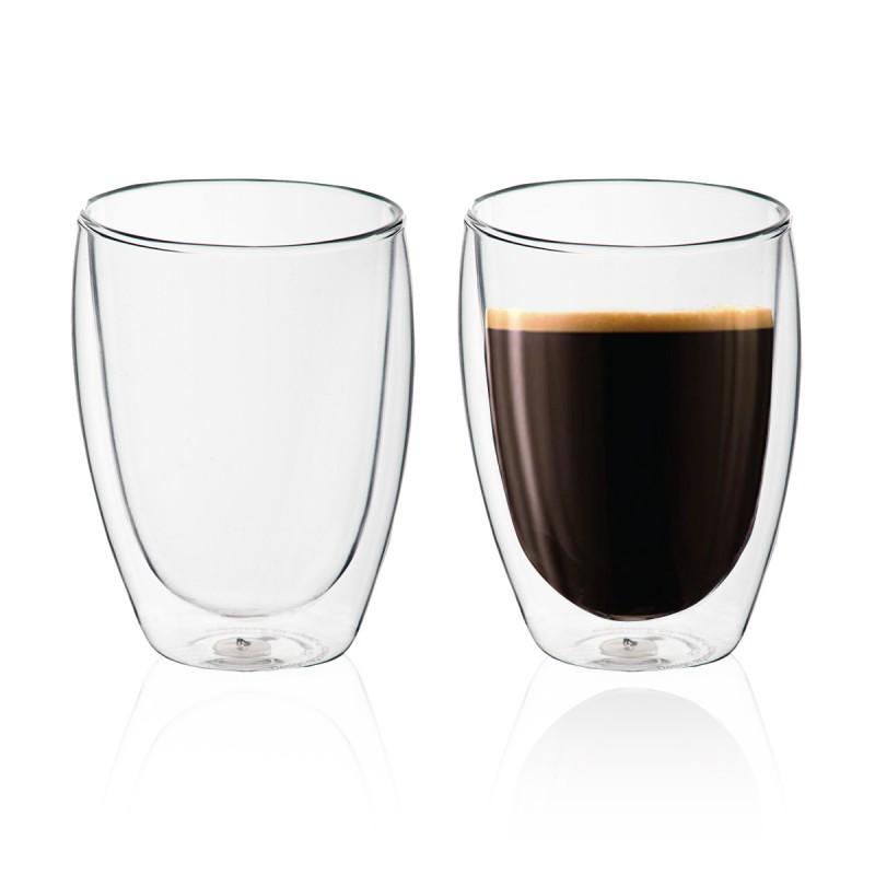 """זוג כוסות זכוכית עם דופן כפולה 350 מ""""ל"""