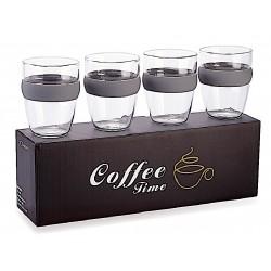סט  4 כוסות זכוכית עם חבק סיליקון בשלל צבעים