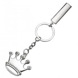 מחזיק מפתחות מתכת בצורת כתר משובץ באבנים.