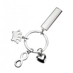 מחזיק מפתחות ממתכת עם תליונים של כתר, אנפיניטי ולב
