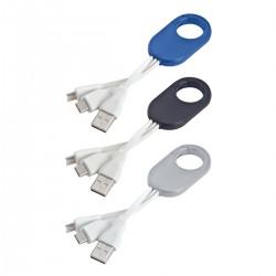 כבל USB  לטעינה בצורת תופסן עם 3 מתאמים