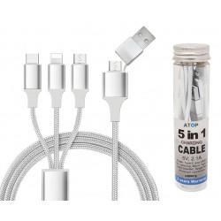 כבל טעינה איכותי עם חיבור טעינה USB ו – Type C