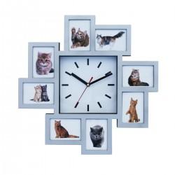 שעון קיר עם 8 מסגרות לתמונות